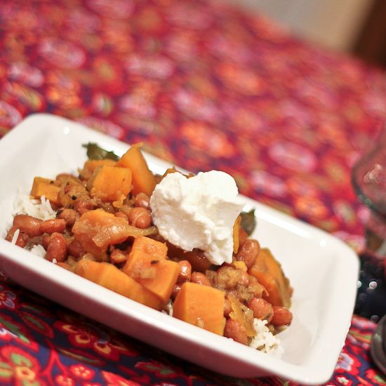 Curried Cranberry Beans and Sweet Potatoes | Recipe
