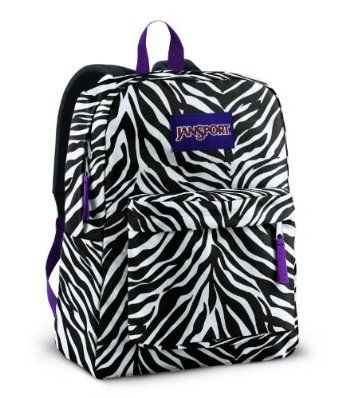 Jansport Backpack Superbreak Zebra Stripes Black and White for School ...