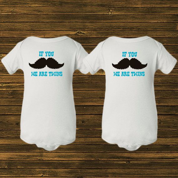 Funny Onesies Or Shirts For Twin Boys Mustache We Are Twins