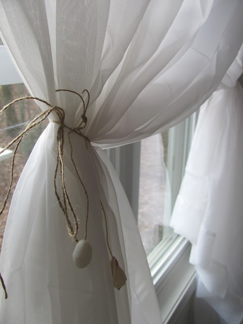 DIY:: Softening up a Corner- Shell Curtain Tie