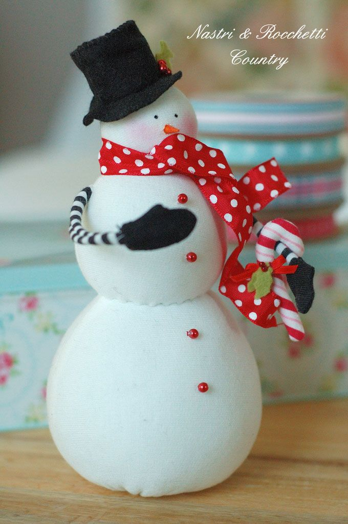 Handmade fabric snowman