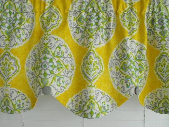 Window Valance curtain yellow gray teal by LaTeDaWindows on Etsy, $59 ...