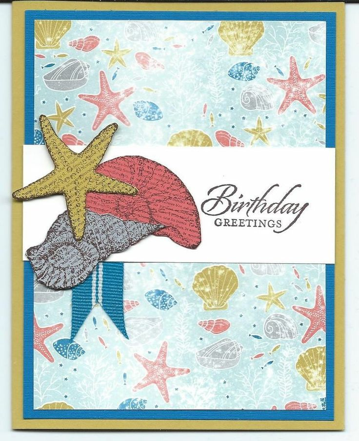 Handmade seashell happy birthday cards made w stampin up supplies