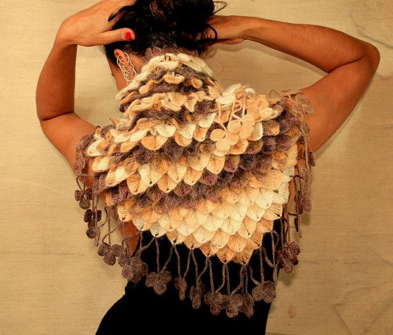 Fall Leaves / Crochet Shawl Wrap Brown Ivory Beige Cream Cowl Chunky ...: pinterest.com/pin/464293042805722904