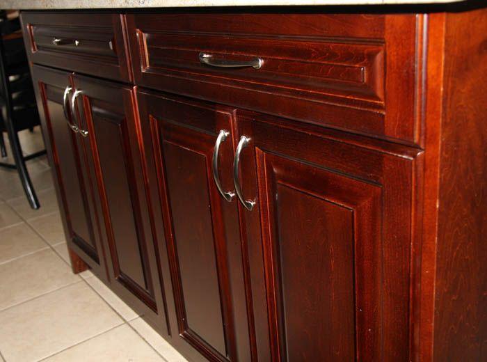 free standing kitchen island dark cherry coloured custom