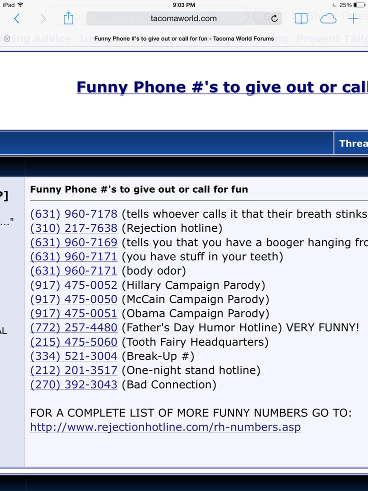 Phone numbers to call
