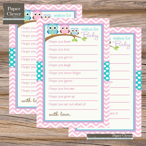 owl well wishes for baby shower game pink by papercleverinstants 6