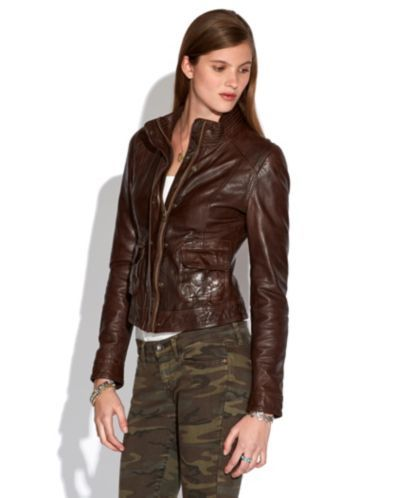 Lucky Brand Jeans Jacket, Long-Sleeve Leather Motorcycle - Jackets