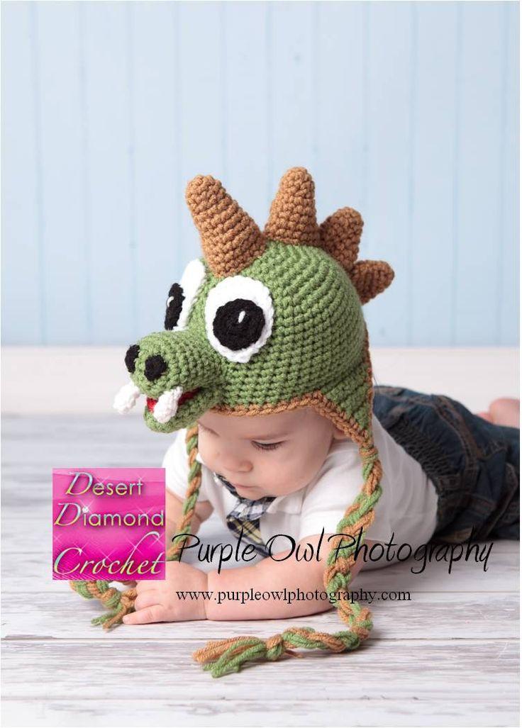 Free Crochet Pattern For Dinosaur Beanie : Crochet Pattern 005 - Dinosaur Earflap Beanie Hat