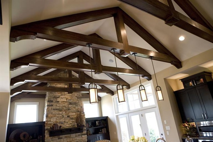 Beamed ceiling kitchen ideas pinterest for Adding beams to ceiling