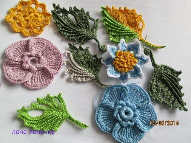 Ирландские цветы крючком мк