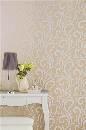 Metallic natural scroll wallpaper next living room for Next living room wallpaper
