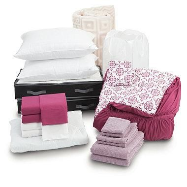 The Reagan Fuschia T/TXL campus collection with Microban® protection is the perfect solution for outfitting your residence room. Features basic items including 100% cotton sheets, towels, mattress topper and more.