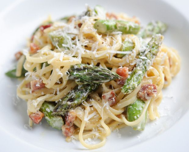 British Asparagus, Pancetta and Lemon Linguine by Gizzi Erskine