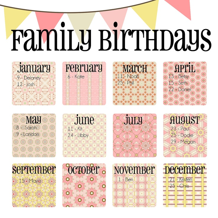 "Family Birthday Calendar - Digital copy you print in ""Pink Lemonade"""