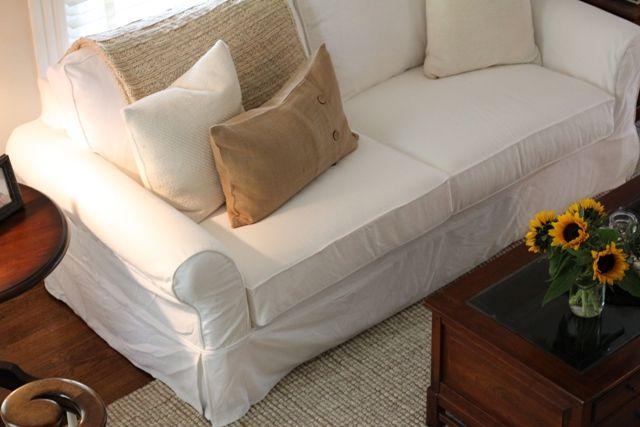 white slipcovered sofa Jane James For the Home