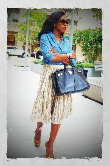 denim + full skirt + birkin