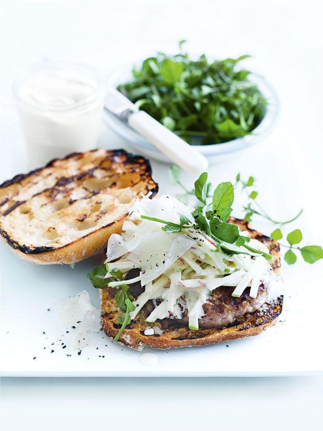 pork and horseradish burgers with apple slaw (Use homemade PALEO ...