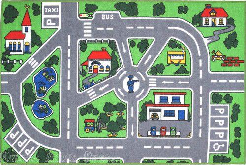 3x5 Area Rug Street Car Policeman Kids Play Fun Time Roads ...