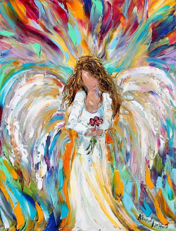 Original oil painting Spring Angel palette knife modern impressionism ... Oil Paintings Of Angels