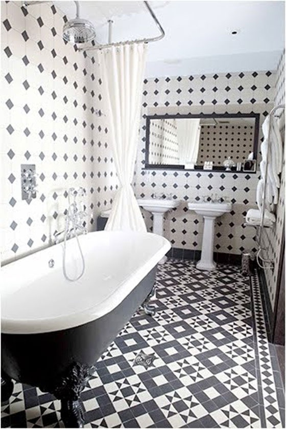 black amp white bathroom tiles cover the walls amp floor grand by