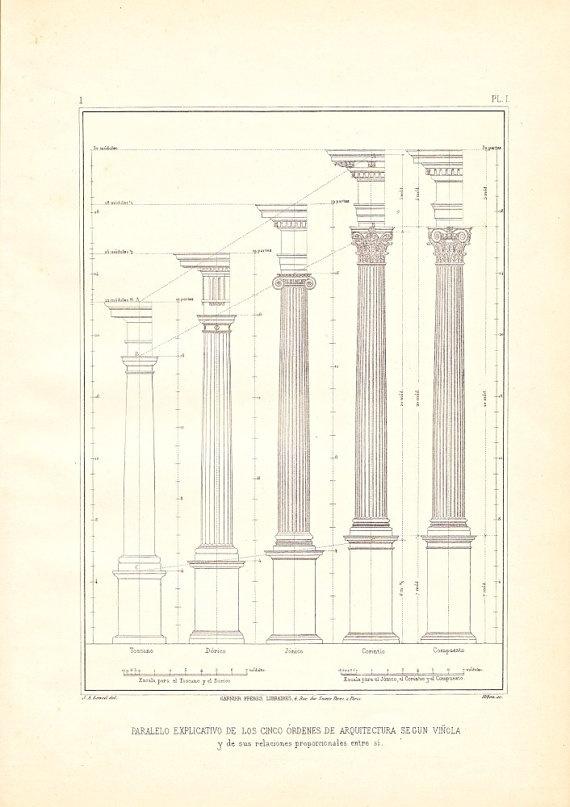 Five orders of architecture columns vignola vintage for 5 orders of architecture