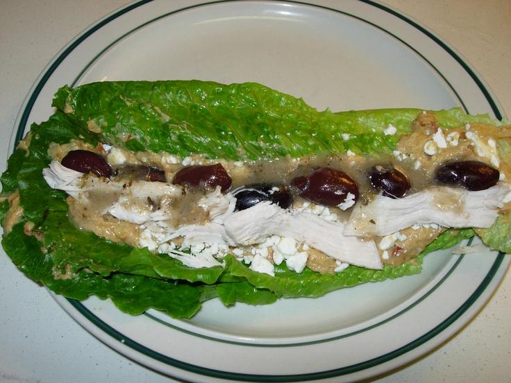 ... Hummus, Baked Chicken, Feta cheese, & Kalamata olives with Greek salad