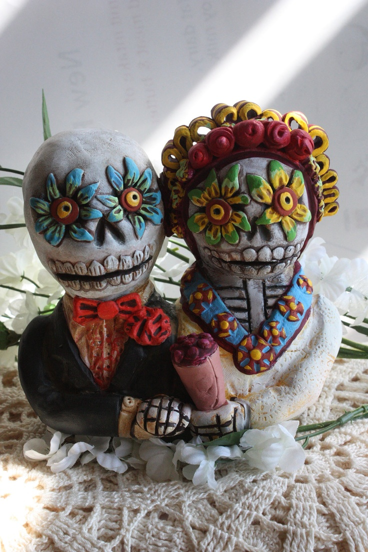 day of the dead wedding cake topper or wedding gift