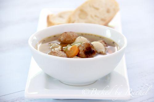 Slow Cooker Mini Meatball Minestrone Soup - Baked by Rachel