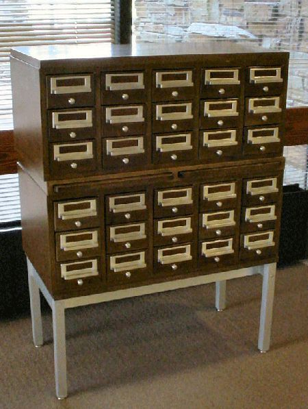 card catalog metal stainless stand