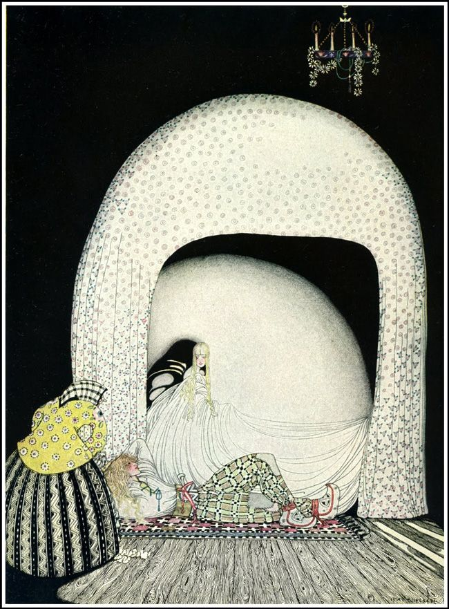 'And this time she whisked off the wig; and there lay the lad, so lovely, and white and red, just as the Princess had seen him in the morning sun.' -- Illustration by Kay Rasmus