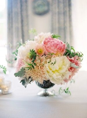 Peach Dahlia and Ivory Peony Centerpiece by  Florette Designs | photography by Jose Villa