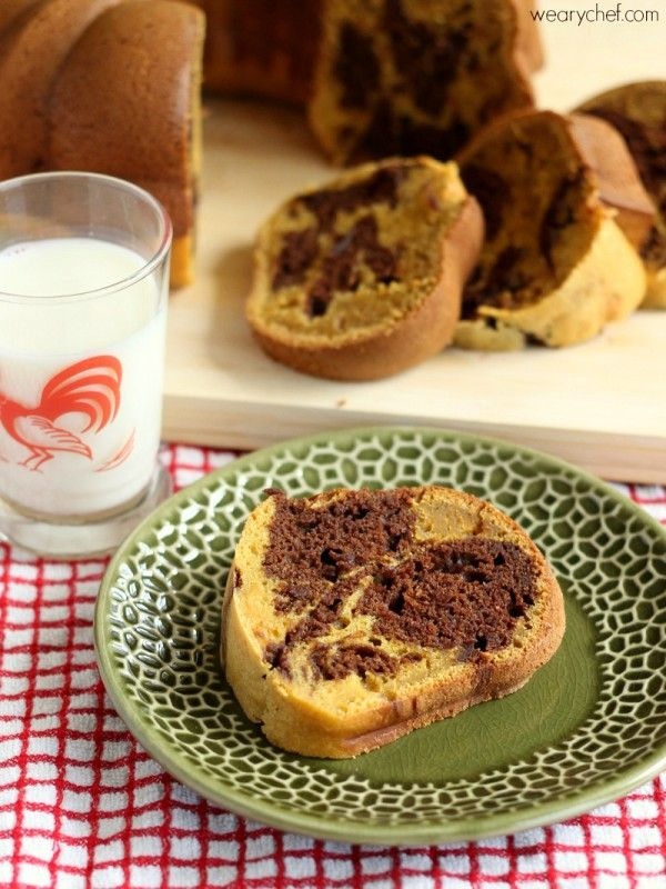 Chocolate Marbled Pumpkin Pound Cake - The Weary Chef