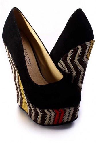 black suede woven platform wedges
