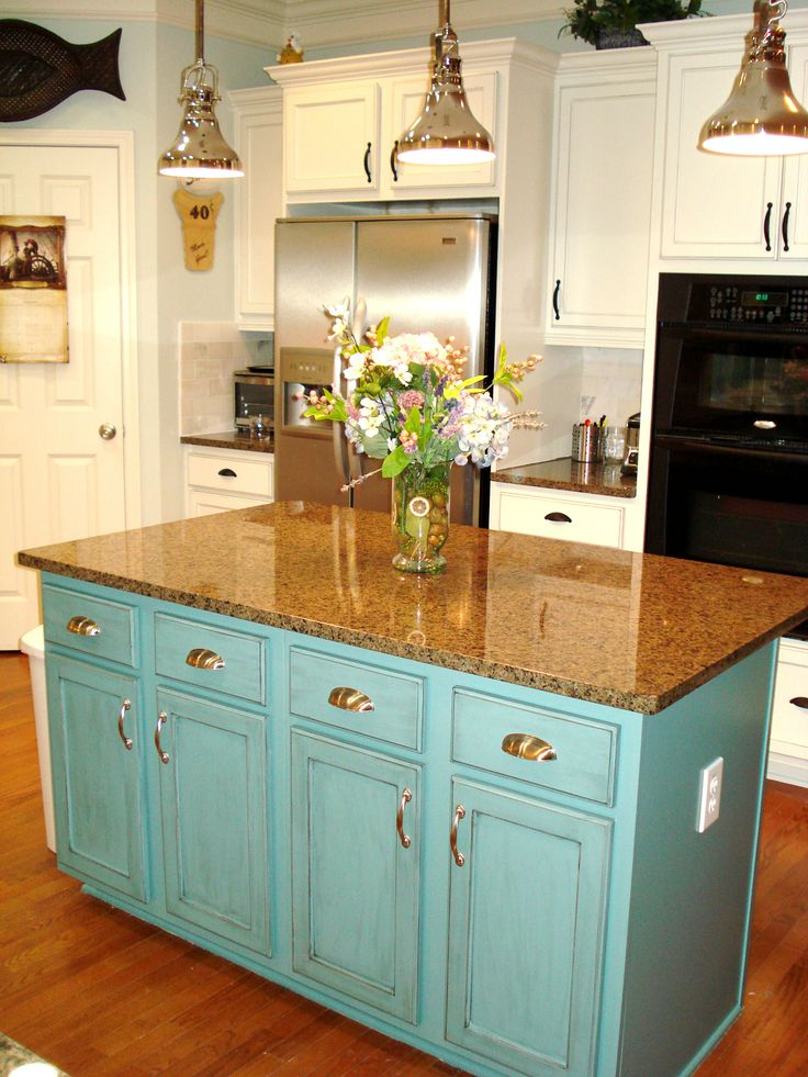 Painted island teal Extend counter for barstools Glaze heavier with