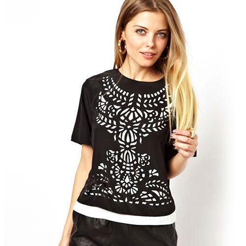 inspiration-$32.99 USD Contrast Color Laser Cut Short Sleeve T Shirt
