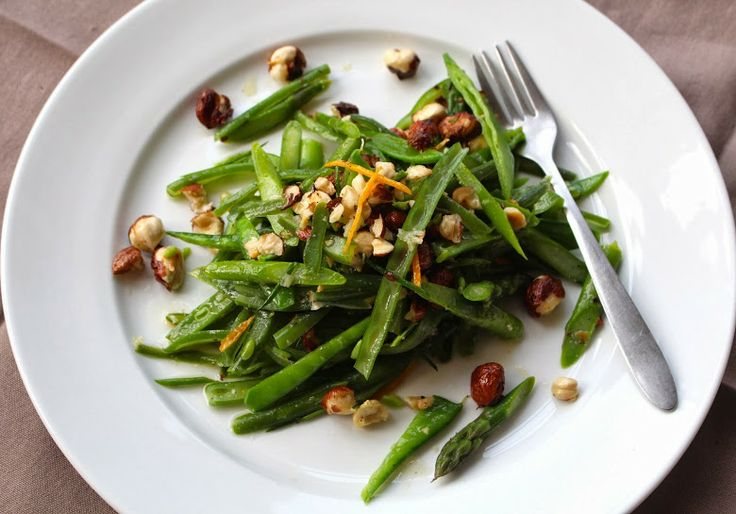 ... Edible: Green Bean & Snap Pea Salad with Orange Dressing and Hazelnuts