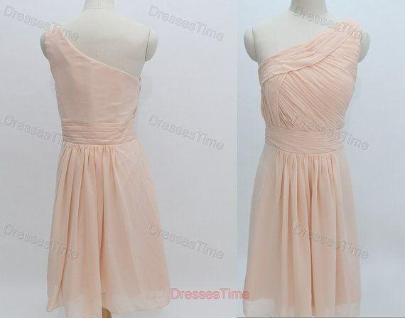 Short Dress Bridesmaid Chiffon Prom Dress Beige
