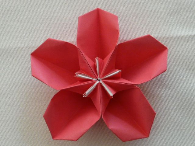 花 折り紙 立体 花 折り紙 : 折り紙 ~桜の器(2)~