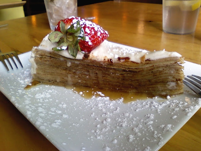 Butter rum caramel crepe cake...Saw this on Diners, Drive Ins & Dives ...