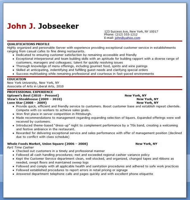 restaurant server resume sample free