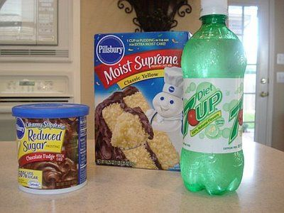 Diet Soda and cake mix. That's it. No eggs, milk or anything else. Super easy 2 ingredient dessert! You can do diet coke and chocolate cake mix too!