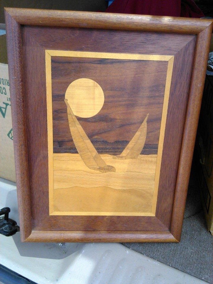 Wood Inlay Wall Decor : Inlaid wood marquetry vintage wall art recently sold