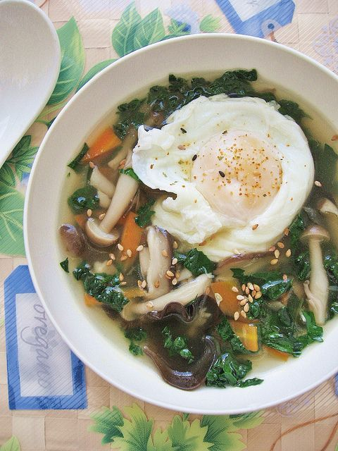 Kale Mushroom Soup with Poached Egg   Soups to warm the belly   Pinte ...
