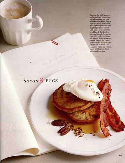 Eggs, bacon and pancakes with toasted glazed pecan pancakes ::