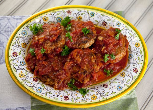 Italian Food Forever » Ricotta Beef Meatballs/Patties Cooked In Sauce