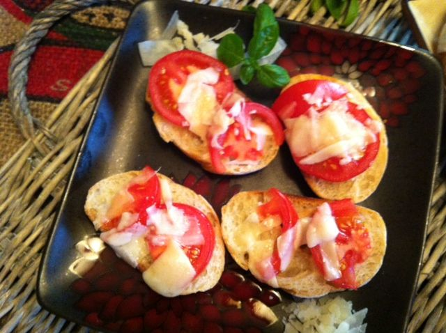 Tomato and Parmesan toasted baguette. Great appetizer. | A Cedar Spoon ...
