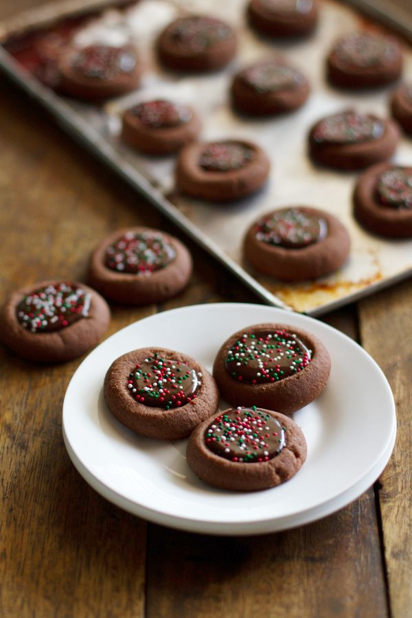 chocolate thumbprint cookies http://pinchofyum.com/mini-chocolate ...