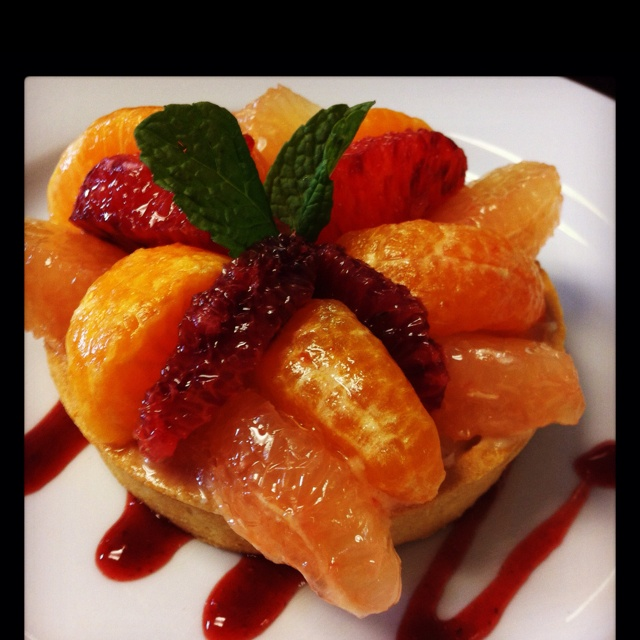 Citrus Tartlet with Vanilla Bean Pastry Cream and Ice Wine Glaze