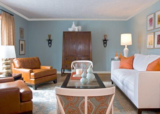 Orange Teal Living Room Home Decor Ideas Pinterest